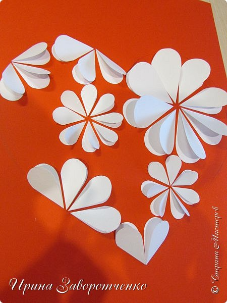 Картина панно рисунок Мастер-класс Валентинов день Аппликация Бумагопластика Панно из сердечек Белое на красном + МК Бумага Клей фото 14