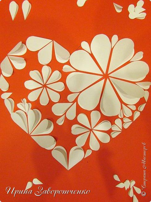 Картина панно рисунок Мастер-класс Валентинов день Аппликация Бумагопластика Панно из сердечек Белое на красном + МК Бумага Клей фото 16