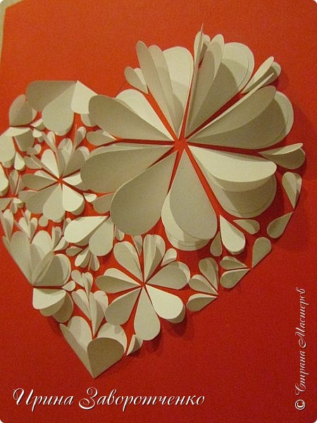 Картина панно рисунок Мастер-класс Валентинов день Аппликация Бумагопластика Панно из сердечек Белое на красном + МК Бумага Клей фото 2