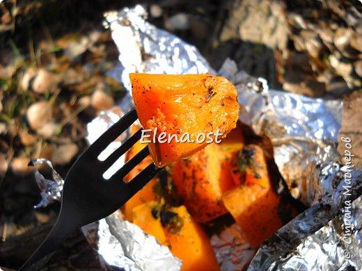 Тыква хороша и вкусна в любом виде. Решила попробовать приготовить еще и в углях. Идем на природу, любуемся осенью и конечно же балуем себя вкусными блюдами, приготовленными на костре.  фото 6