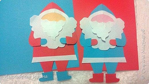 Мастер-класс Открытка Новый год Вырезание Киригами pop-up Два Мороза Бумага фото 21