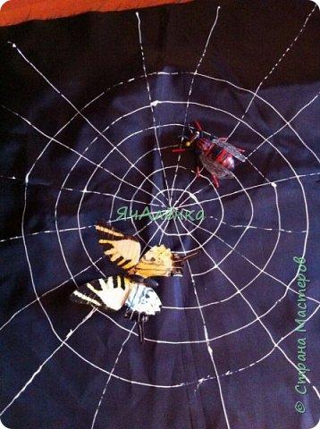 """Здравствуйте,дорогие жители страны! Мои мальчишки играли в сценке """"буратино"""" вместе с папой и были пауками! Пришлось выдумывать костюмы и вот,что из этого получилось... Веселая компания пауков деток и папы паука!)))    фото 5"""