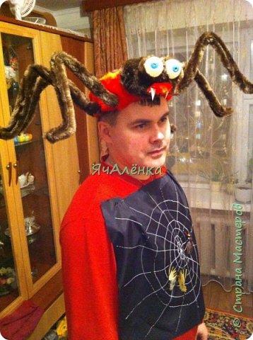 """Здравствуйте,дорогие жители страны! Мои мальчишки играли в сценке """"буратино"""" вместе с папой и были пауками! Пришлось выдумывать костюмы и вот,что из этого получилось... Веселая компания пауков деток и папы паука!)))    фото 2"""