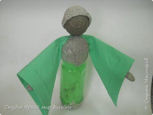 Куклы Мастер-класс Новый год Моделирование конструирование Ангел Бумага гофрированная Бутылки пластиковые Картон Проволока фото 7