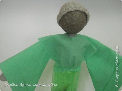 Куклы Мастер-класс Новый год Моделирование конструирование Ангел Бумага гофрированная Бутылки пластиковые Картон Проволока фото 9