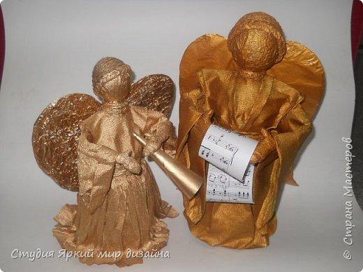 Куклы Мастер-класс Новый год Моделирование конструирование Ангел Бумага гофрированная Бутылки пластиковые Картон Проволока фото 19