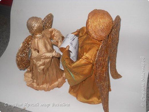 Куклы Мастер-класс Новый год Моделирование конструирование Ангел Бумага гофрированная Бутылки пластиковые Картон Проволока фото 20