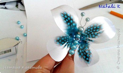 Предлагаю мой мастер-класс по изготовлению бабочки, получается очень красиво, можно украсить ободок, заколку. фото 15