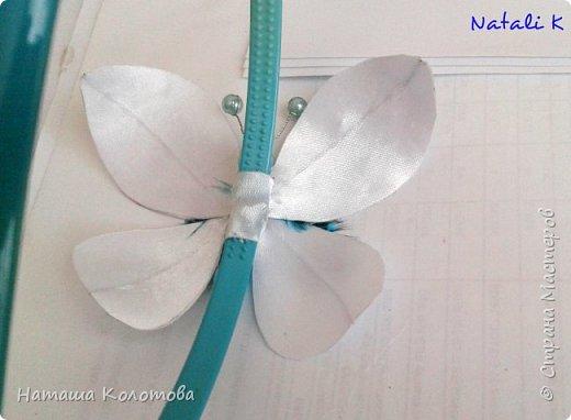 Предлагаю мой мастер-класс по изготовлению бабочки, получается очень красиво, можно украсить ободок, заколку. фото 17