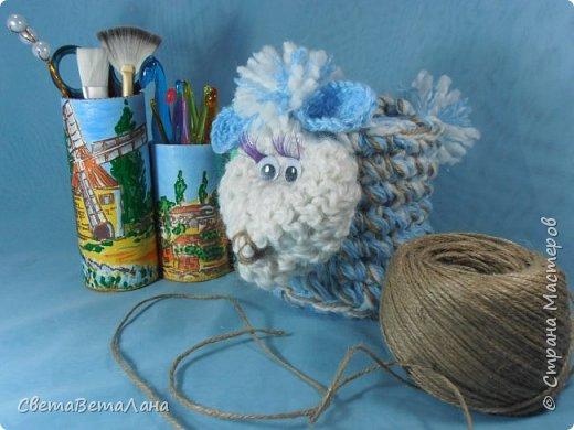 Поделка изделие Новый год Вязание крючком Многофункциональная овечка Пряжа Шпагат фото 1