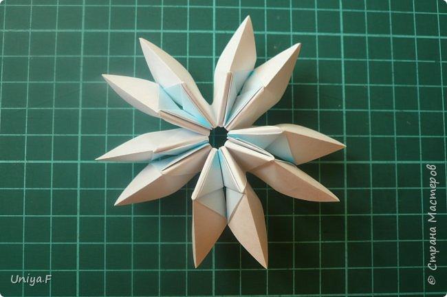 """Эта звездочка из 5 модулей смотрится очень лучисто и рельефно. Имеет односторонний эффект, хороша из градиентной бумаги. Подойдет для кусудам. Как снежинку можно сделать из 6 модулей.  Name: Toccata star  Collection origami stars """"Philharmonia"""" Designer: Uniya Filonova   Units: 5  Paper: 7,5 x 7,5 cm   Final diameter: 9 cm  Joint: no glue  фото 17"""
