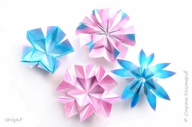 """Эта звездочка из 5 модулей смотрится очень лучисто и рельефно. Имеет односторонний эффект, хороша из градиентной бумаги. Подойдет для кусудам. Как снежинку можно сделать из 6 модулей.  Name: Toccata star  Collection origami stars """"Philharmonia"""" Designer: Uniya Filonova   Units: 5  Paper: 7,5 x 7,5 cm   Final diameter: 9 cm  Joint: no glue  фото 18"""