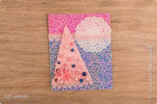 Скрапбукинг Новый год Новогодний мастер-класс нарядная скрап-открытка своими руками Бумага Бусины Кружево фото 1