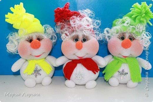 Игрушка Интерьер Мастер-класс Новый год Шитьё МК снеговичков Капрон фото 52