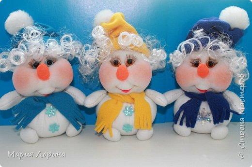 Игрушка Интерьер Мастер-класс Новый год Шитьё МК снеговичков Капрон фото 51