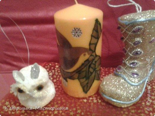 Декор предметов Мастер-класс Новый год Декупаж Декупаж на свече Горячий способ Воск парафин Салфетки фото 1