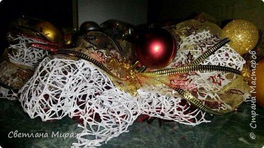 Мастер-класс Новый год Рождество Ассамбляж Моделирование конструирование Венок морозный узор Материал оберточный фото 3