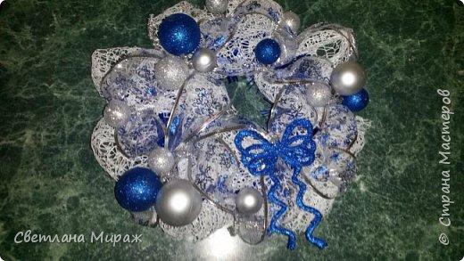 Мастер-класс Новый год Рождество Ассамбляж Моделирование конструирование Венок морозный узор Материал оберточный фото 22