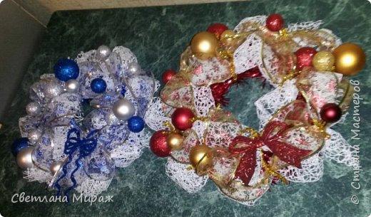 Мастер-класс Новый год Рождество Ассамбляж Моделирование конструирование Венок морозный узор Материал оберточный фото 25