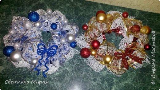 Мастер-класс Новый год Рождество Ассамбляж Моделирование конструирование Венок морозный узор Материал оберточный фото 26