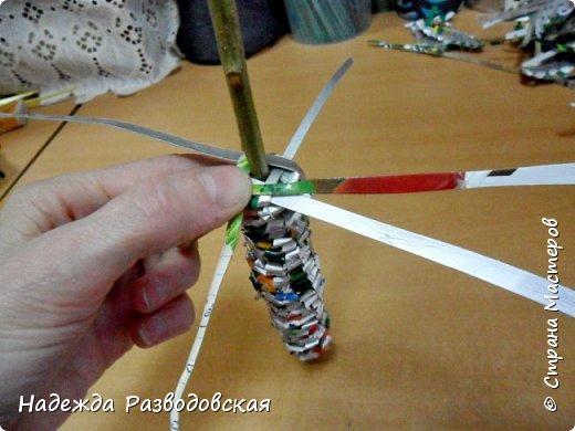 Мастер-класс. Спиральное плетение вокруг каркаса.( Из соломки, газетных трубочек, картонных полосок) фото 38