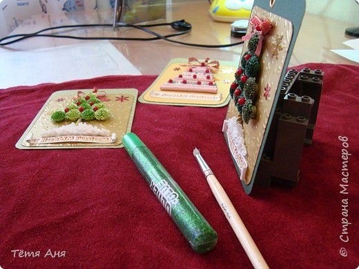 Мастер-класс Открытка Новый год Рождество Аппликация Квиллинг Торцевание ёлочки-ассорти Бумага Картон фото 14