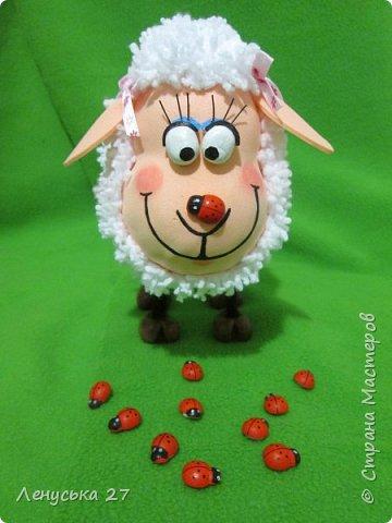Всем добрый вечер! Я опять с овечками. Вот такая чудная получилась, с коровкой на носу.Копытца и глазки из полимерной глины, покрашены акрилом. фото 1