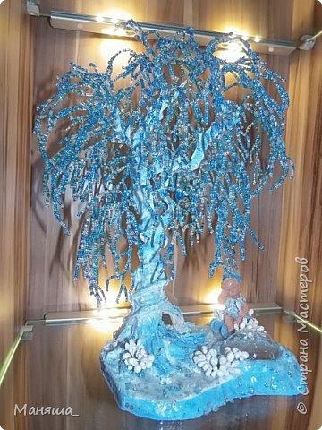 Бонсай топиарий Мастер-класс 23 февраля День рождения Новый год Рождество Бисероплетение Зимнее или ледяное дерево Бисер Гипс фото 1