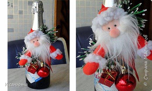 Украшение для бутылки на новый год крючком