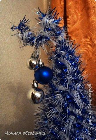 Привет всем жителям страны мастеров! Вот решила выставить на всеобщий суд свою новогоднюю елочку. Бело-синяя гамма цветов напоминает зиму(не правда ли?). фото 2