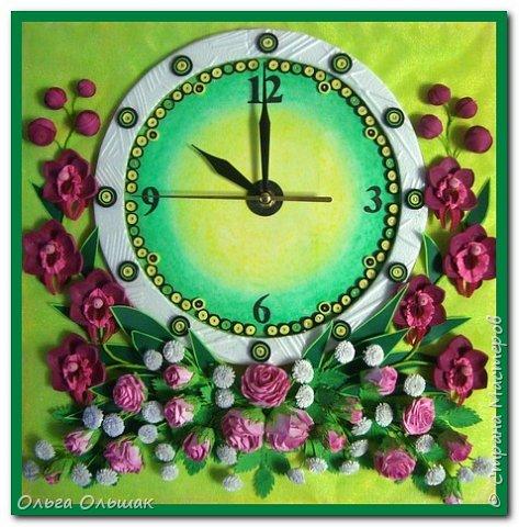 Поделка изделие Квиллинг Часы Бумажные полосы фото 1