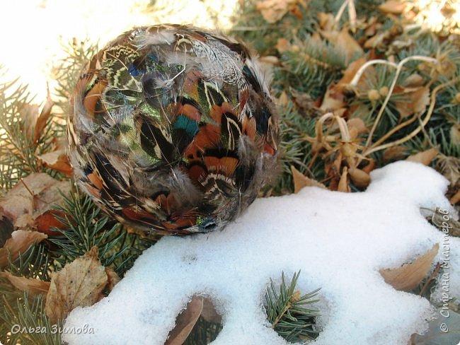 Давно хотела сделать такие вот необычные новогодние шары. Такая палитра красок никого не может оставить равнодушным.Природа постаралась наряжая птиц..Давно коллекционирую перья птиц и вот сделала такие  волшебные шары. Конечно фото не может передать всей красоты и всех переливов природных красок. Надеюсь что вы полюбуетесь вместе со мной , таким эко нарядом. фото 20