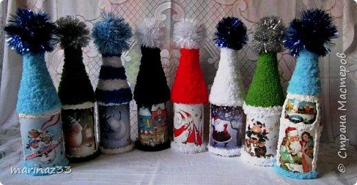 Добрый вечер!!! Эти бутылочки я сделала в шапочках ... Сначала мне как-то не понравились, потом я по низу бутылочки тоже 2 ряда пряжи приклеила, вроде получше.... В живую они прикольно смотрятся, необычно.... фото 1