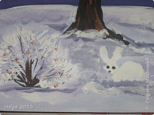 Первый рисунок - это заснеженное дерево с совами. Нам понадобится: лист бумаги А3 или А4, гуашь, кисти №1, 5, 9, вилка пластмассовая, ватные палочки, крупа манная. фото 12