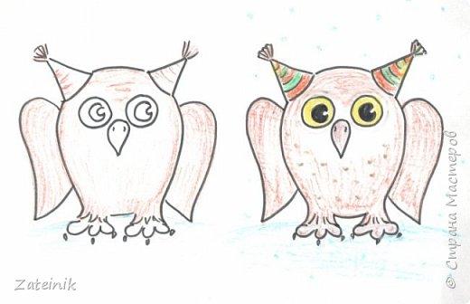 Совуни- мудрые и весёлые, смешные, глазастые жители  леса. они тоже готовятся к встрече Нового года.  Вот, смотрите, какие они красивые в своих ушастых, пёстрых шапочках. фото 3