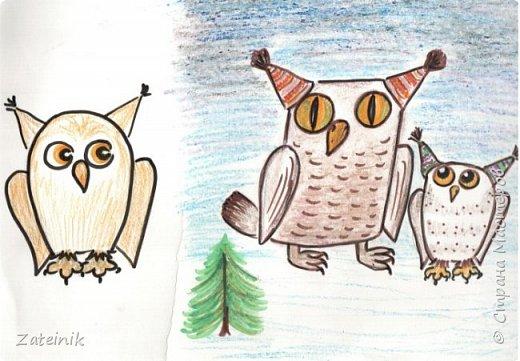 Совуни- мудрые и весёлые, смешные, глазастые жители  леса. они тоже готовятся к встрече Нового года.  Вот, смотрите, какие они красивые в своих ушастых, пёстрых шапочках. фото 4