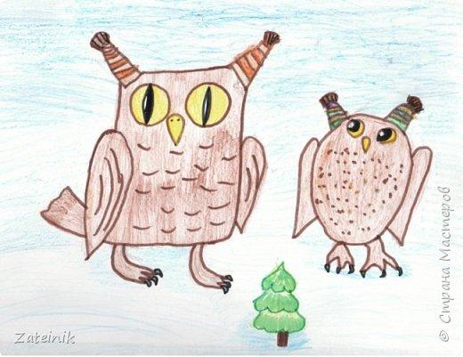 Совуни- мудрые и весёлые, смешные, глазастые жители  леса. они тоже готовятся к встрече Нового года.  Вот, смотрите, какие они красивые в своих ушастых, пёстрых шапочках. фото 5