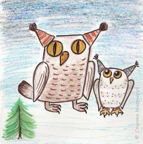 Совуни- мудрые и весёлые, смешные, глазастые жители  леса. они тоже готовятся к встрече Нового года.  Вот, смотрите, какие они красивые в своих ушастых, пёстрых шапочках. фото 1