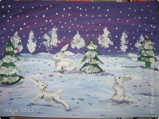 Первый рисунок - это заснеженное дерево с совами. Нам понадобится: лист бумаги А3 или А4, гуашь, кисти №1, 5, 9, вилка пластмассовая, ватные палочки, крупа манная. фото 17