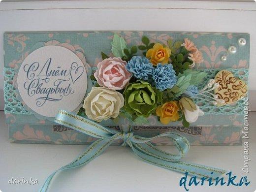 Добрый день! Сегодня хочу показать вам свадебную открытку и конверт, которые впервые делала на заказ! Результат меня очень порадовал! фото 8