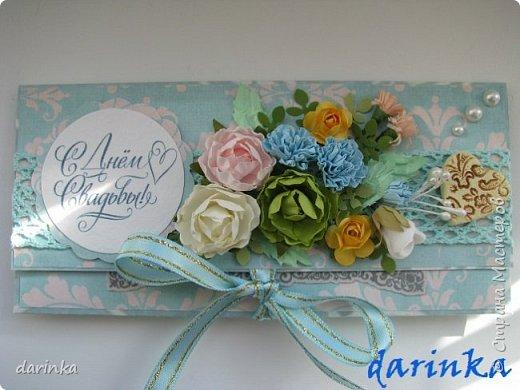 Добрый день! Сегодня хочу показать вам свадебную открытку и конверт, которые впервые делала на заказ! Результат меня очень порадовал! фото 13
