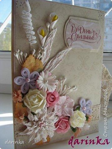 Добрый день! Сегодня хочу показать вам свадебную открытку и конверт, которые впервые делала на заказ! Результат меня очень порадовал! фото 2