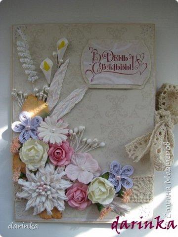 Добрый день! Сегодня хочу показать вам свадебную открытку и конверт, которые впервые делала на заказ! Результат меня очень порадовал! фото 7