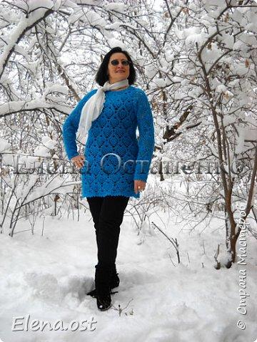 Моя новая туника для осени, зимы и прохладной весны. Вязала регланом от горловины единым полотном, без швов. Очень люблю и ананасы, и реглан. Туника получилась теплая, воздушная и приятная к телу.  Пряжу использовала турецкую Alize - Angora Real 40 (480г-100м) - ушло примерно 350 г. Крючок №2.5 фото 9