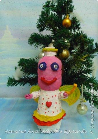 Поделка изделие Рождество Моделирование конструирование Рождественский Ангел своими руками  Бутылки пластиковые Пластилин фото 1