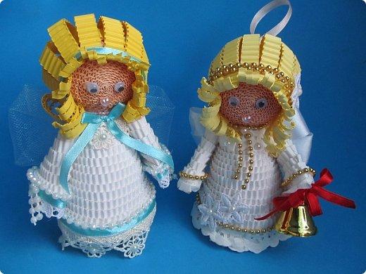 Мастер-класс Поделка изделие Новый год Квиллинг Ах это Ангел белоснежный Картон гофрированный фото 41