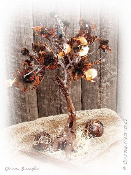 Давно хотела сделать небольшое деревце из старой коряги..Цветы из перев фазана и плюс украшение деревца- сушёные дольки яблочка. фото 1