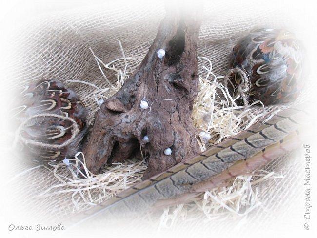 Давно хотела сделать небольшое деревце из старой коряги..Цветы из перев фазана и плюс украшение деревца- сушёные дольки яблочка. фото 4