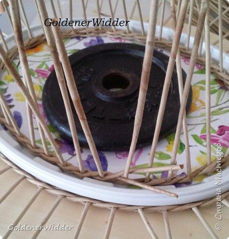 Мастер-класс Поделка изделие Масленица Плетение Чайный поднос из пластиковой крышки Бумага газетная Трубочки бумажные фото 13