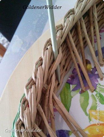 Мастер-класс Поделка изделие Масленица Плетение Чайный поднос из пластиковой крышки Бумага газетная Трубочки бумажные фото 22